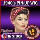 FANCY DRESS WIG # LADIES 1940s PIN UP BROWN ROSIE WIG WITH HEADSCARF